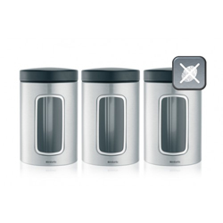 Brabantia Stainless Steel Window Canister 1-4 Liter Set of 6