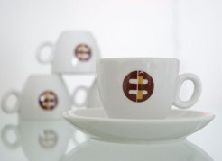 Comobar White Espresso Cups and Saucers CS-4 doz