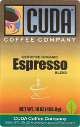 Cuda Certified Organic Espresso Blend Whole Bean (1 lb)