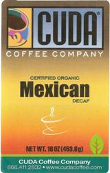 Cuda Coffee Certified Organic Mexican Decaffeinated (1 lb)