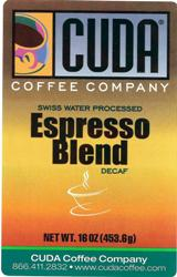 Cuda Coffee Espresso Blend Decaffeinated (1 lb)