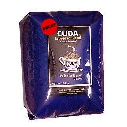 DECAF Whole Bean Gourmet Coffee (5 lb) - Cuda Espresso Blend Fresh Roasted