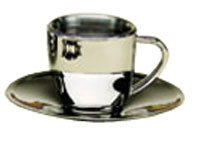 Espresso Cup-Saucer Set Stainless Steel 2-5 oz