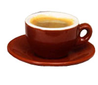 Italian Cafe Style Espresso Cup and Saucer - Mocha - 2-5oz