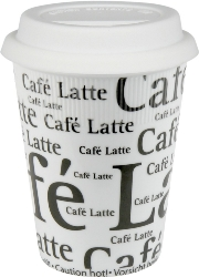 Konitz Travel Cafe Latte Writing Mug in White w-Lid Set of 2