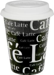 Konitz Travel Cafe Latte Writing on Black Mug w-Lid Set of 2