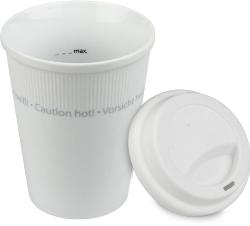 Konitz White Travel Mug w-Lid Set of Two