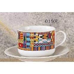 Set of 2 Latte Cups & Saucers - Aztec Design