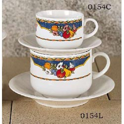 Set of 4 Cappuccino Cups & Saucers - Harvest Design