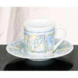 Set of 6 Espresso Cups & Saucers - Sunset Design