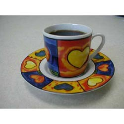 Set of 6 Espresso Demitasse Cups & Saucers - Amore Design