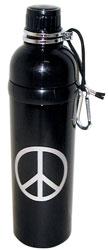 Stainless Steel Water Bottle 24 oz Peace Black
