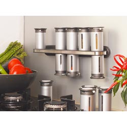 Zevro 14 Piece Magnetic Spice Rack Set - Silver Canisters