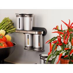Zevro 8 Piece Magnetic Spice Rack Set - Silver Canisters